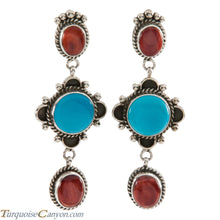 Load image into Gallery viewer, Navajo Native American Turquoise and Orange Spiny Shell Earrings SKU226372
