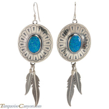 Load image into Gallery viewer, Navajo Native American Lab Opal and Silver Feather Earrings SKU226380