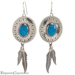 Navajo Native American Lab Opal and Silver Feather Earrings SKU226380