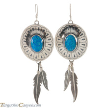 Load image into Gallery viewer, Navajo Native American Lab Opal and Silver Feather Earrings SKU226381