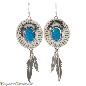 Navajo Native American Lab Opal and Silver Feather Earrings SKU226381