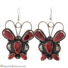 Load image into Gallery viewer, Navajo Native American Orange Shell Butterfly Earrings by Brown SKU226395