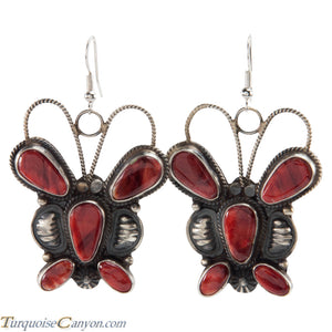 Navajo Native American Orange Shell Butterfly Earrings by Brown SKU226395