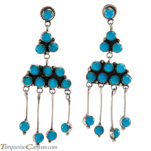 Load image into Gallery viewer, Navajo Native American Kingman Turquoise Earrings by Livingston SKU226407