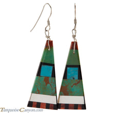 Load image into Gallery viewer, Santo Domingo Turquoise Coral and Shell Inlay Earrings by Coriz SKU226423