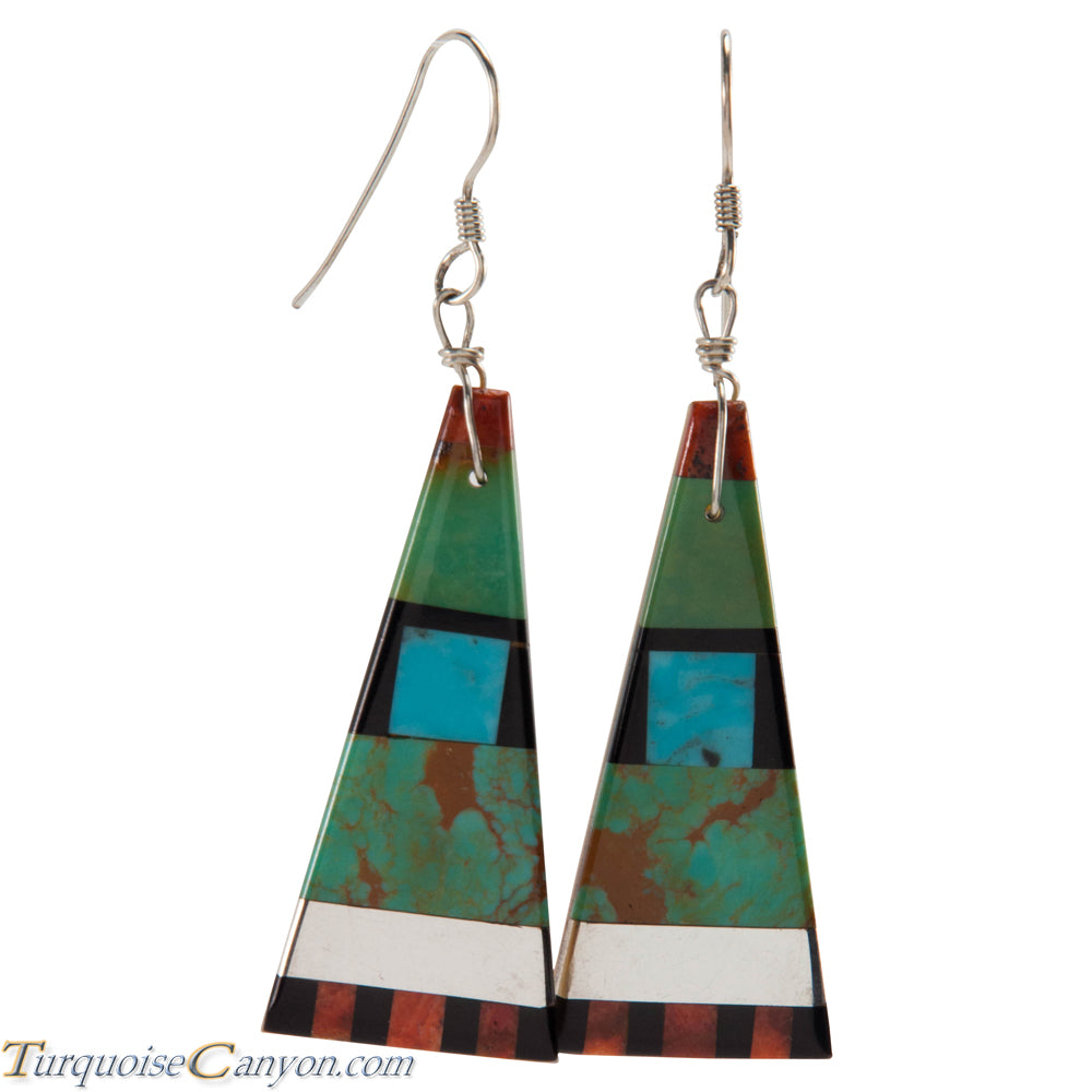 Santo Domingo Turquoise Coral and Shell Inlay Earrings by Coriz SKU226423