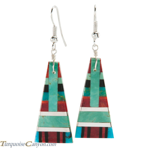 Santo Domingo Turquoise Coral and Shell Inlay Earrings by Coriz SKU226424