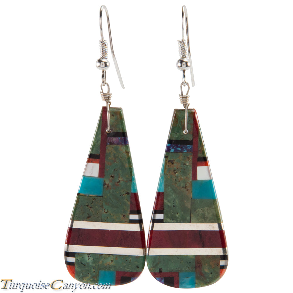 Santo Domingo Turquoise Coral and Shell Inlay Earrings by Coriz SKU226427