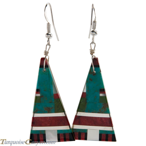 Santo Domingo Turquoise Coral and Shell Inlay Earrings by Coriz SKU226428