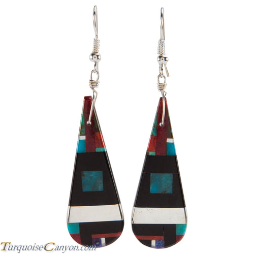 Santo Domingo Turquoise Coral and Shell Inlay Earrings by Coriz SKU226433