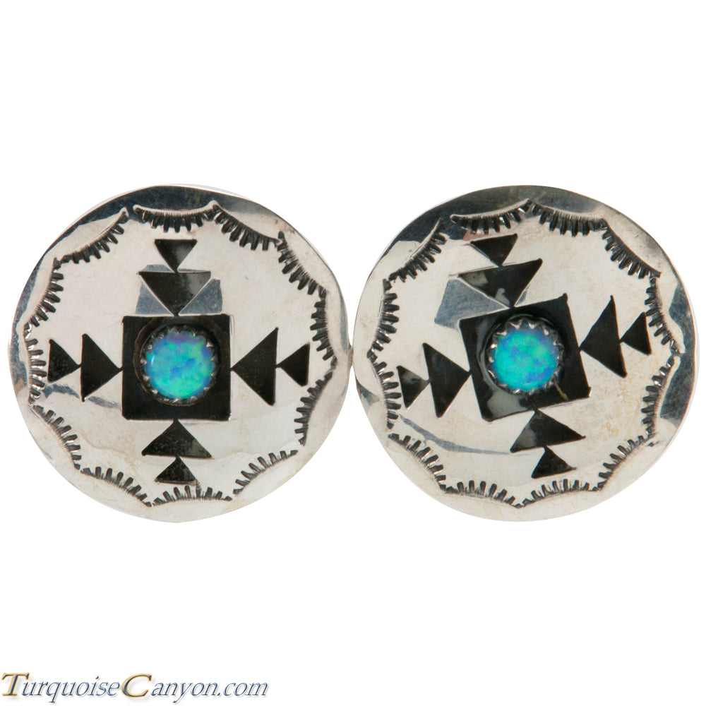 Navajo Native American Lab Opal Silver Shadow Box Earrings by Perry SKU226480