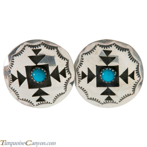 Navajo Native American Turquoise Shadow Box Earring by Felix Perry SKU226482
