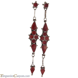 Zuni Native American Orange Spiny Oyster Shell Inlay Earrings SKU226550