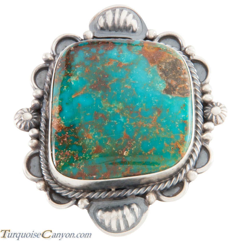 Navajo Native American Kingman Turquoise Ring Size 8 1/4 by Brown SKU226638