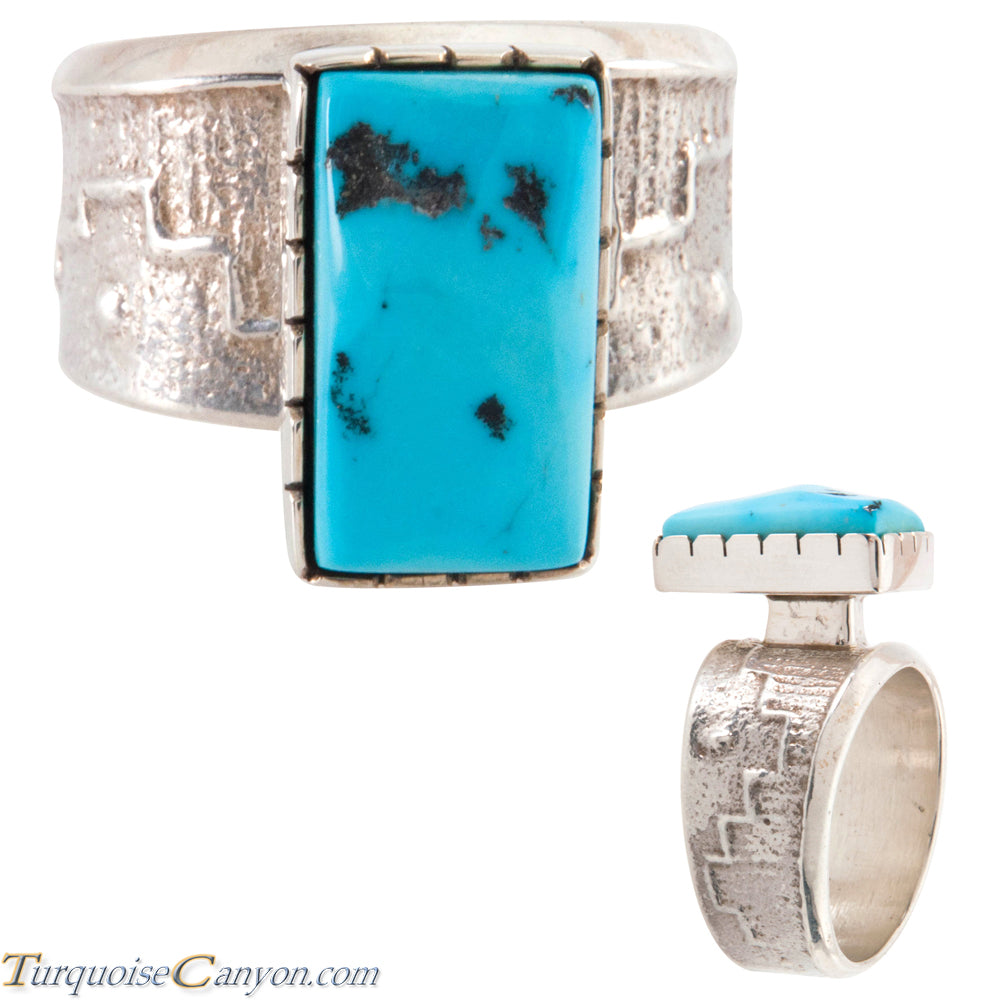 Navajo Native American Sleeping Beauty Turquoise Ring Size 13 1/2 SKU226647