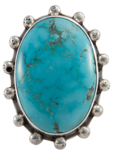 Santo Domingo Stone Mountain Turquoise Ring Size 7 1/2 by Coriz SKU226648