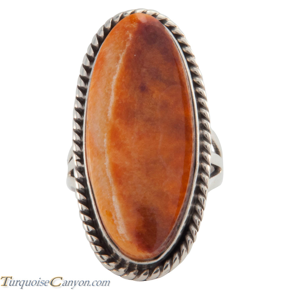 Navajo Native American Orange Spiny Oyster Shell Ring Size 5 1/2 SKU226651