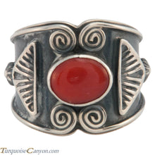 Load image into Gallery viewer, Navajo Native American Red Coral Ring Size 8 3/4 by Sunshine Reeves SKU226658
