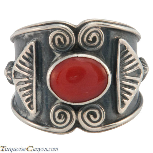 Navajo Native American Red Coral Ring Size 8 3/4 by Sunshine Reeves SKU226658