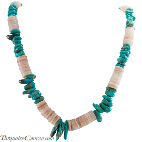 Santo Domingo Shell and Turquoise Heishi Necklace by Juanita Skeets SKU226694