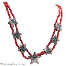 Load image into Gallery viewer, Santo Domingo Kewa Pueblo Coral and Shell Star Necklace by Reano SKU226698