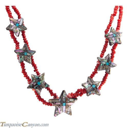Santo Domingo Kewa Pueblo Coral and Shell Star Necklace by Reano SKU226698
