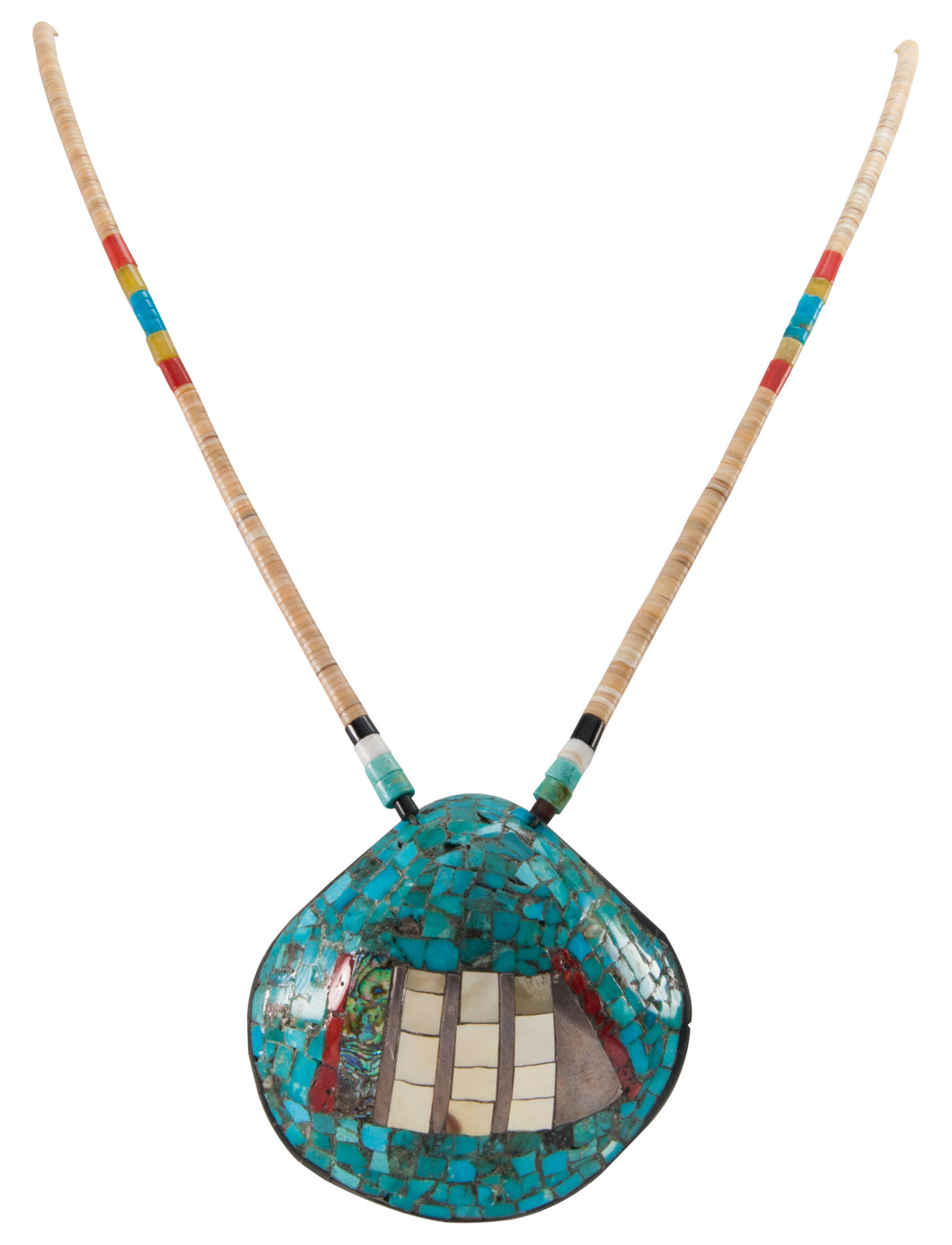 Santo Domingo Kewa Pueblo Dead Pawn Turquoise Shell Necklace SKU226702