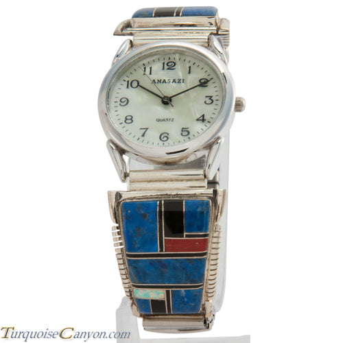 Navajo Native American Lapis and Lab Opal Watch Tips by Yazzie SKU226722