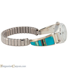 Load image into Gallery viewer, Navajo Native American Turquoise and Lab Opal Watch Tips by Yazzie SKU226736