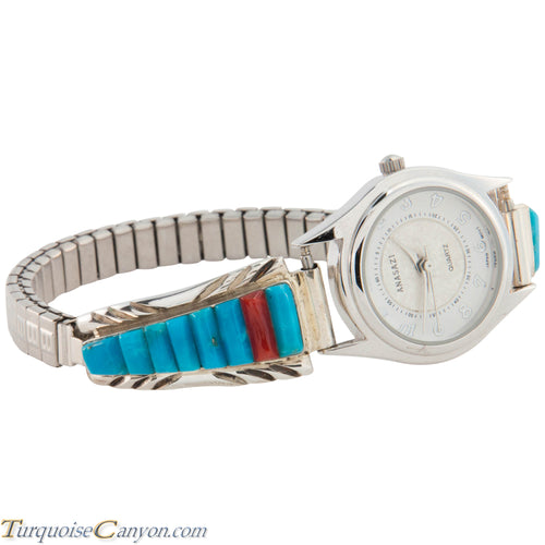 Navajo Native American Turquoise and Coral Watch Tips by Yazzie SKU226737