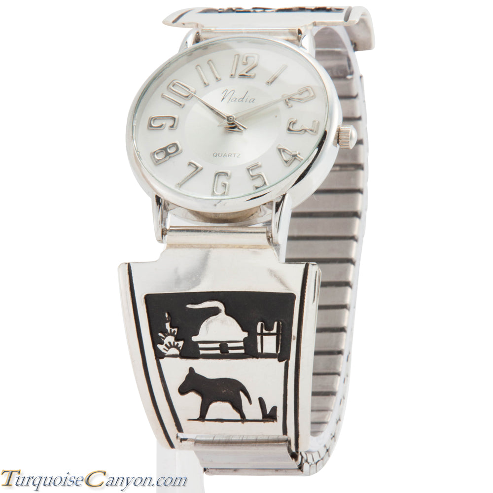 Navajo Native American Hogan and Horse Silver Watch Tips by Singer SKU226749