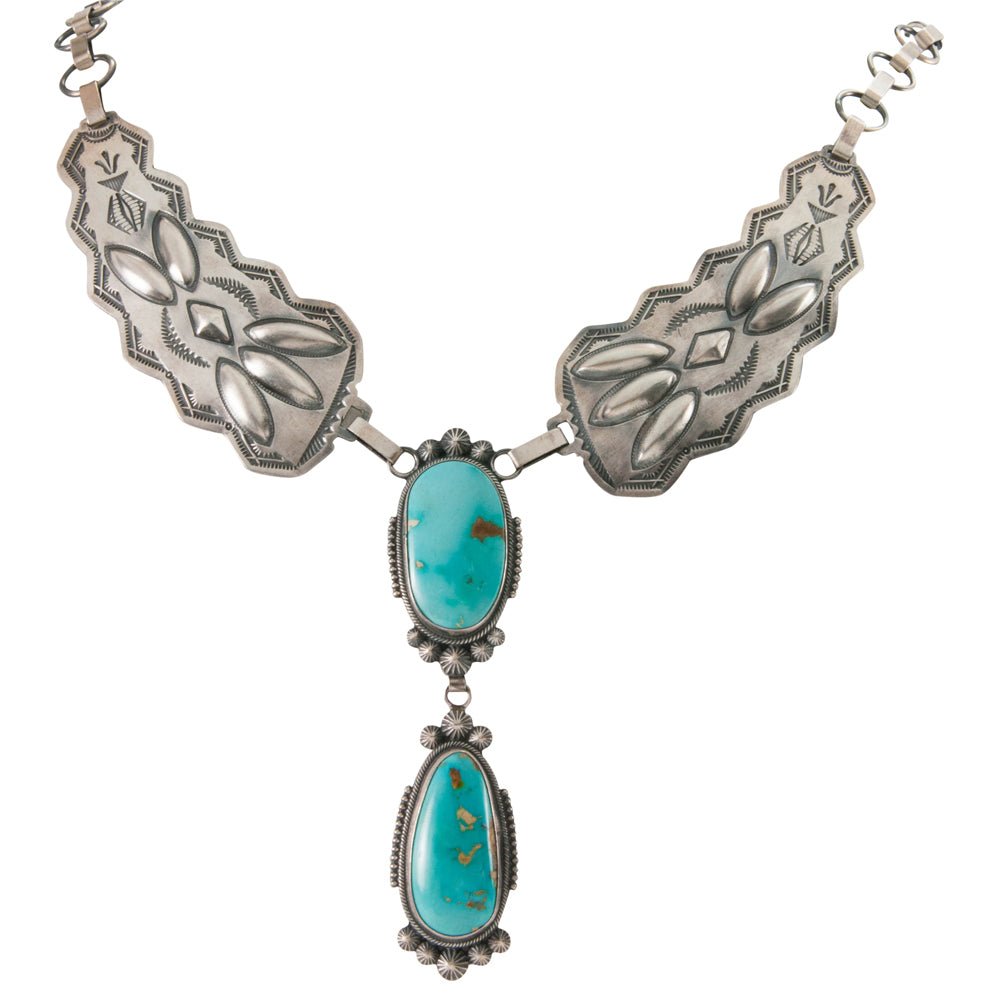 Navajo Native American Kingman Turquoise Necklace by Stanley Parker SKU226764