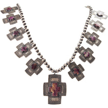 Load image into Gallery viewer, Navajo Native American Purple Shell Spanish Cross Necklace Donovan SKU226765