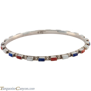 Zuni Native American Lapis and Coral Bangle Bracelet by Bewanika SKU226774