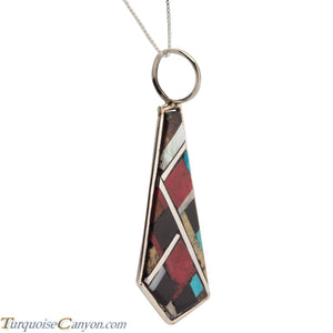 Santo Domingo Turquoise and Coral Inlay Pendant Necklace by Bailon SKU226809