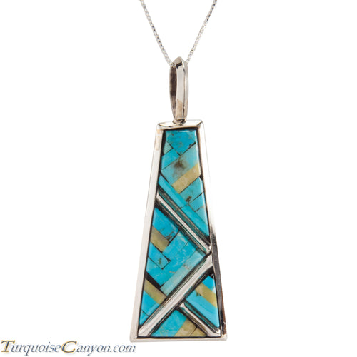 Santo Domingo Turquoise and Serpentine Pendant Necklace by Bailon SKU226811