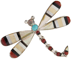 Zuni Native American Coral and Shell Dragonfly Pin and Pendant SKU226819