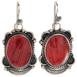 Navajo Native American Orange Spiny Oyster Shell Earrings by Jim SKU226861