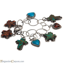 Load image into Gallery viewer, Navajo Native American Turquoise Cross Heart Star Charm Bracelet SKU226868
