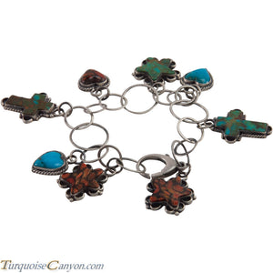 Navajo Native American Turquoise Cross Heart Star Charm Bracelet SKU226868