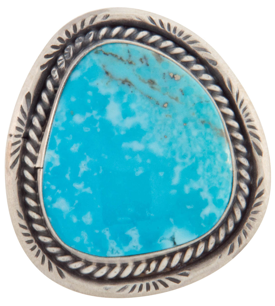 Navajo Native American Kingman Turquoise Ring Size 8 1/4 by Willeto SKU226877