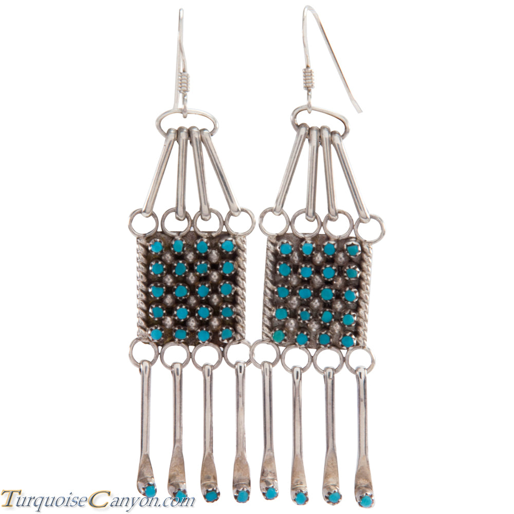 Zuni Native American Sleeping Beauty Turquoise Petit Point Earrings SKU227088