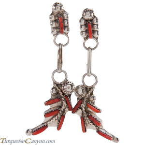 Zuni Native American Red Coral Needlepoint Earrings SKU227089