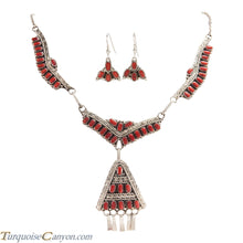 Load image into Gallery viewer, Navajo Native American Red Coral Necklace and Earring Set by Lee SKU227113