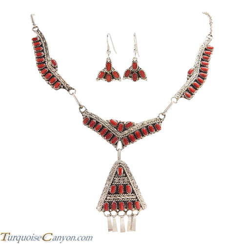 Navajo Native American Red Coral Necklace and Earring Set by Lee SKU227113