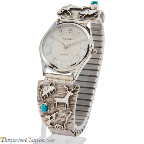 Navajo Native American Petroglyph and Turquoise Watch Tips SKU227176