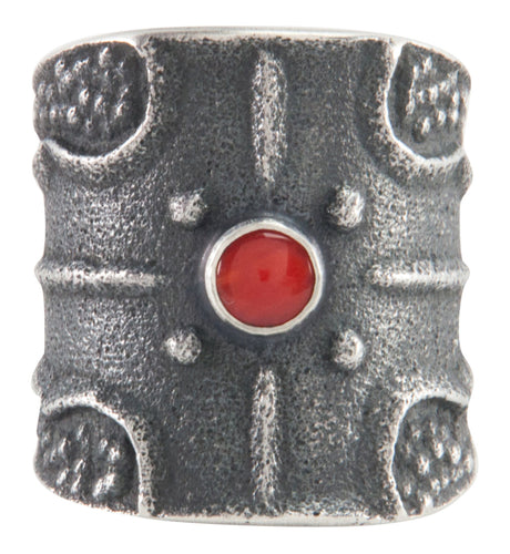 Navajo Native American Red Coral Ring Size 9 3/4 by Monty Claw SKU227180