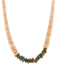 Load image into Gallery viewer, Santo Domingo Kewa Heishi Shell and Royston Turquoise Necklace SKU227186