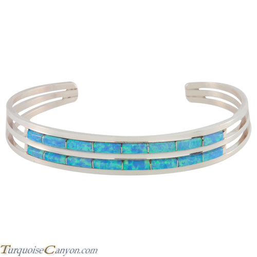 Zuni Native American Lab Opal Inlay Bracelet by Wallace SKU227218