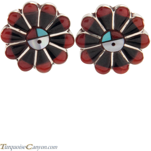 Zuni Native American Jet and Turquoise Clip on Sunface Earrings SKU227234